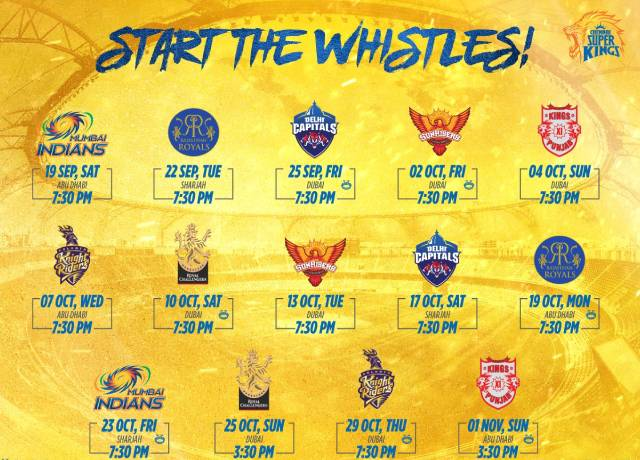 Chennai Super Kings(CSK) Full Schedule for IPL 2020