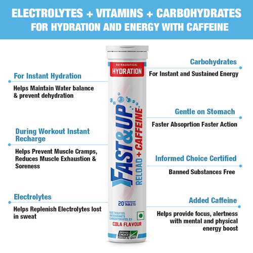 Fast&Up Reload + Caffeine - Combo of 2 Tubes - Cola Flavour