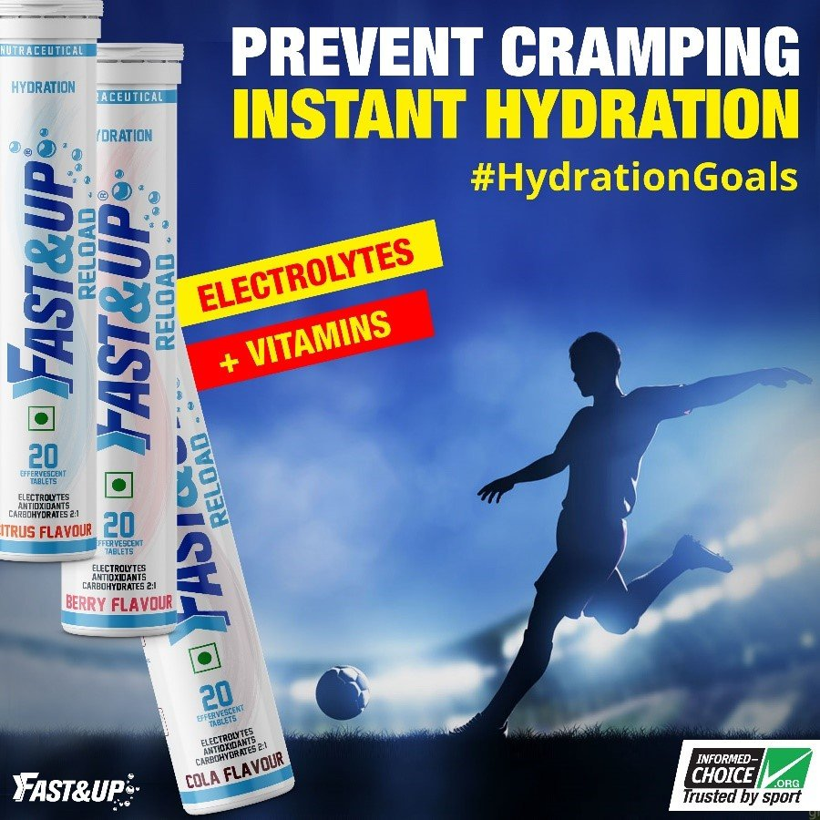 Fast&Up Reload tubes with a silhouette of a footballer kicking the football