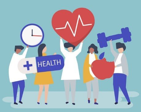 Vector image of doctors promoting a healthy lifestyle