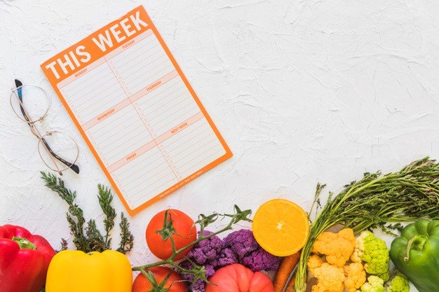 Vegetables and fruits with a diet chart