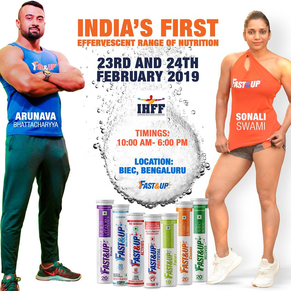 Fast&Up Effervescent tablet supplements with IHFF Bengaluru event information