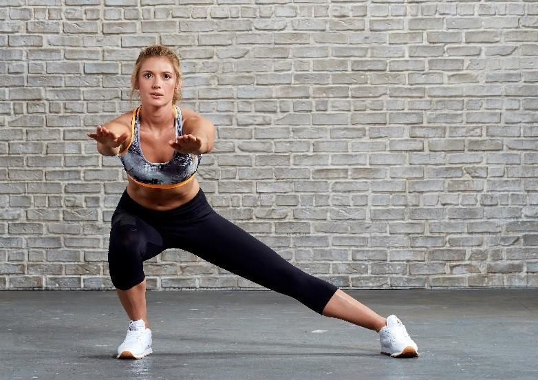 A woman doing stretches